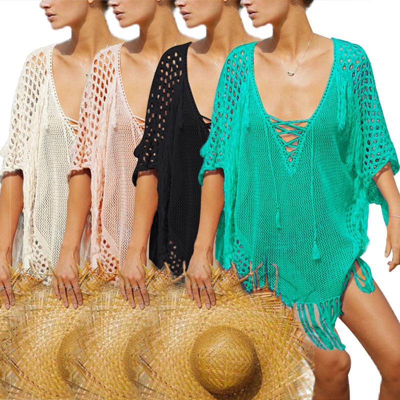 Women's Clothing 2019 Latest Design Thin Knit Hanging Beach Swimsuit Smock Sexy Fashion Bat Sleeve Long Irregular Hem V-neck Hollow Female Shirt Smock