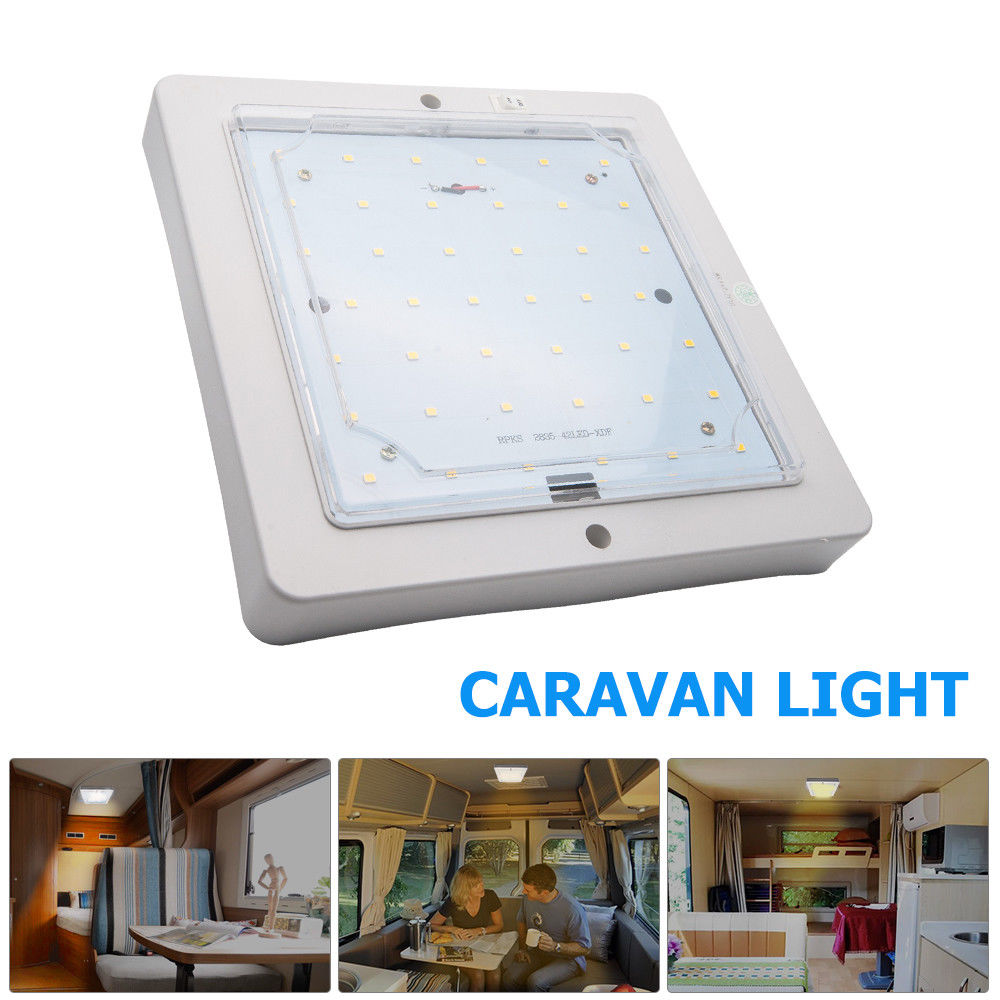12V 9W Car Caravan LED Warm White Light Indoor Roof Ceiling Interior Lamp Dome Light