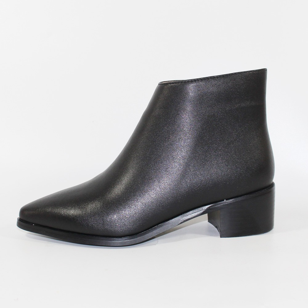 Women Ankle Boots Genuine Leather Ladies Winter Mid Square Heel 4.5cm Heels Fashion Woman Pointed Toe Black Shoes YOUGOLUN A101