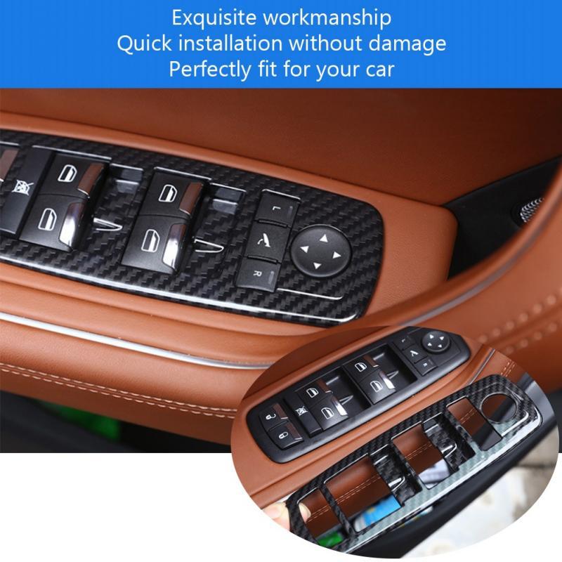 4Pcs Car Window Switch Panel Lift Button Frame Cover Trim Decoration for Maserati Levante 2017 2018