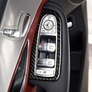 Image 5 - Für Mercedes Benz C Klasse W205 C180 C200 C300 GLC260 4 stücke Carbon Faser Auto Fenster Schalter Armlehne Panel Abdeckung