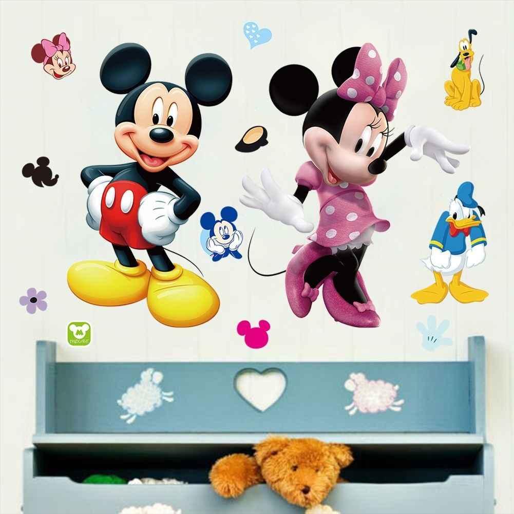 Микки Маус Минни виниловая настенная наклейка наклейки для детей, детские товары декор комнаты WS