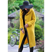 Try Everything Hooded Cardigan Women Long Winter Yellow Oversized Sweater 2019 Knitted Casual Female Coat