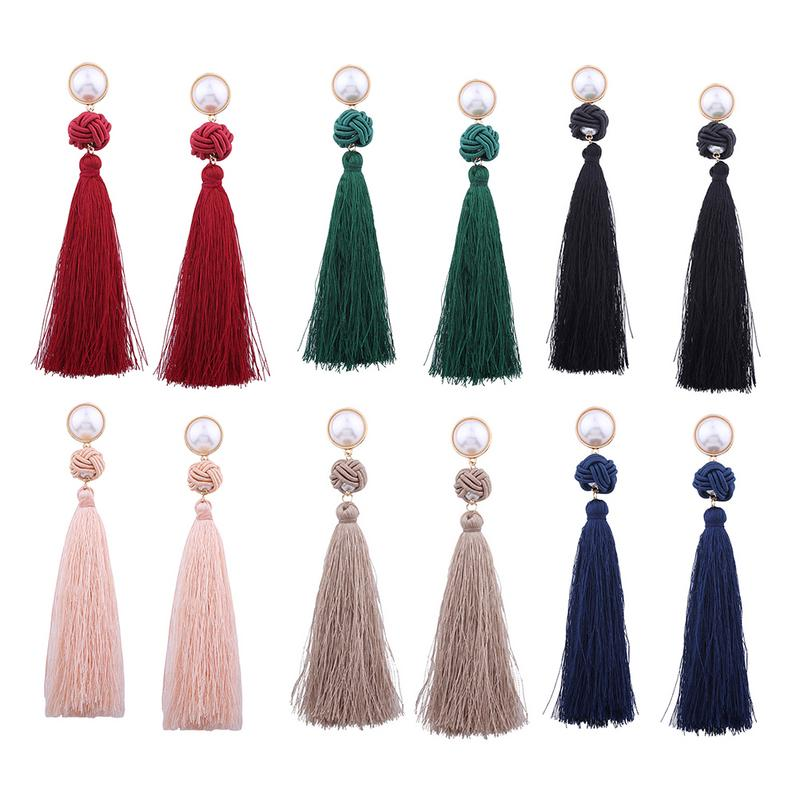 European And American National Style Tassel Earrings Retro Personality Women Festive Banquet Party Clothing Accessories