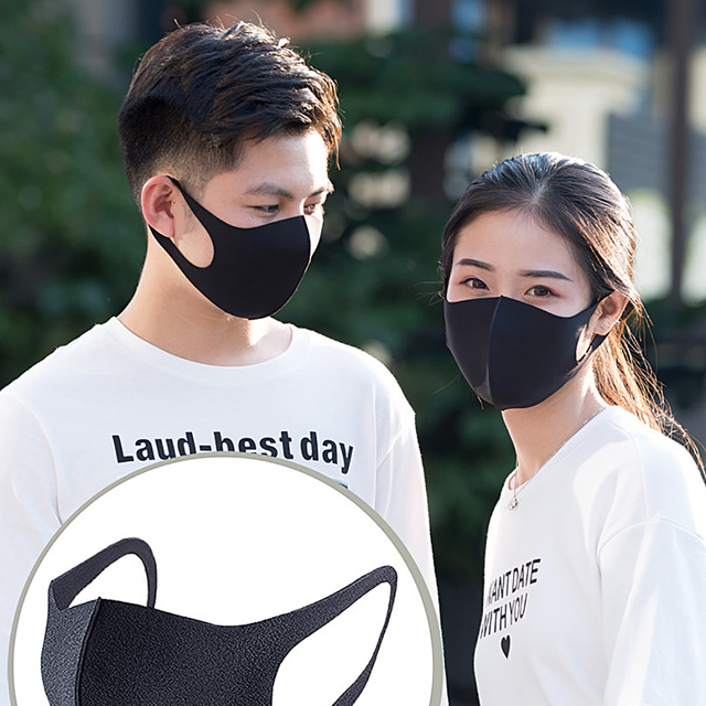 2pcs Unisex Black Mask Soft Cotton Winter Breathing Mask Anti-Dust Earloop Mouth Face Cover Outdoor Riding dropshipping 5