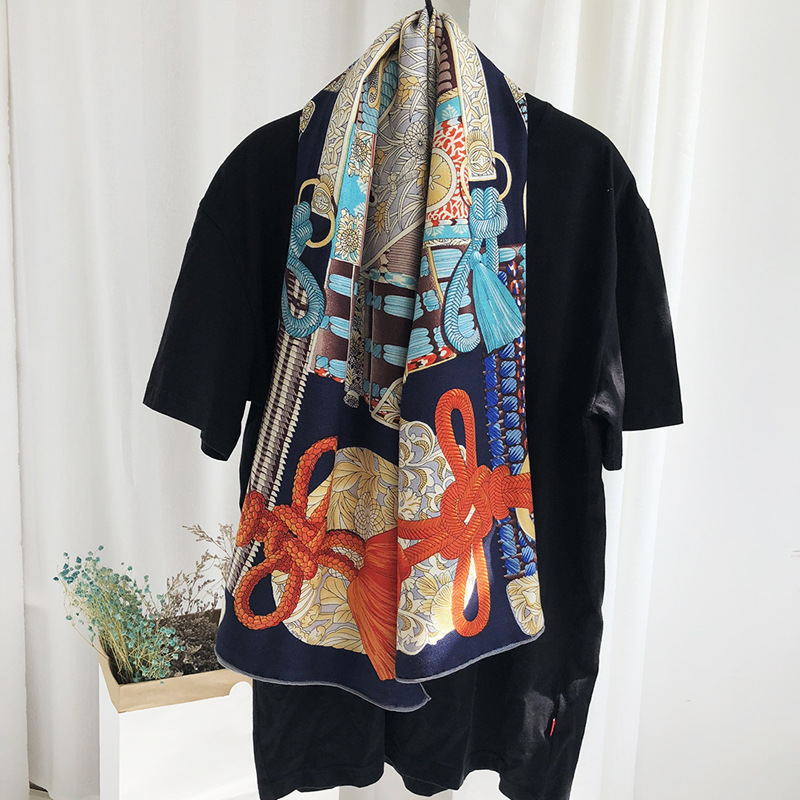 Luxury Silk Scarf For Women Cashmere Hijab Scarfs Kerchief 140*140cm Square Shawls Neckerchief Headband Scarves For Ladies 2019