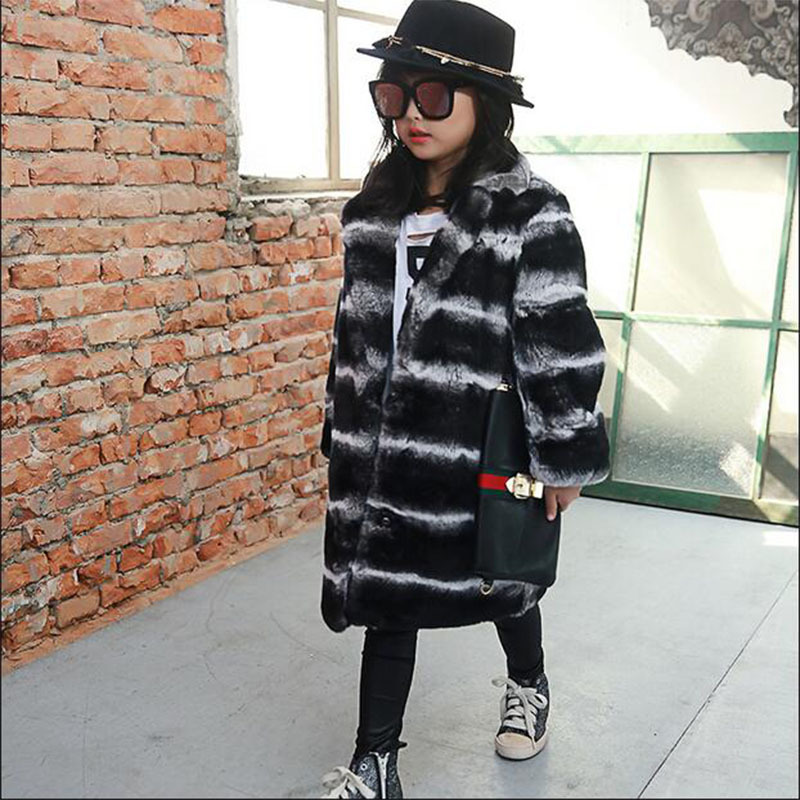 Children Rex Rabbit Fur Coat Kids Real Natural Fur Coat Winter Girls Warm Outwear High-quality Striped Long V-Neck Clothing C#28 недорго, оригинальная цена
