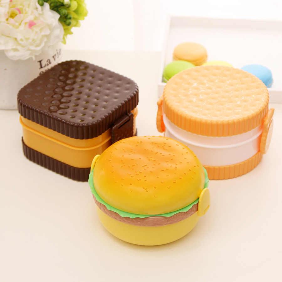 Doppio Livello Lunch Box Carino Hamburger Burger Box Bento Lunchbox Scuola Dei Bambini Contenitore di Alimento Da Tavola Set con la Forcella Per Bambini