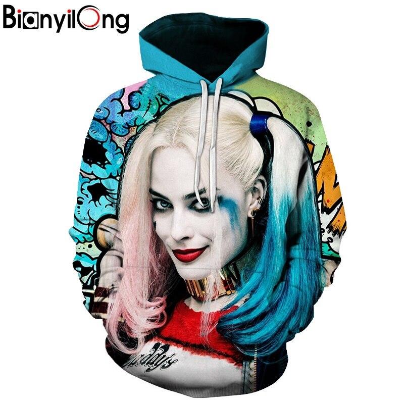 BIANYILONG Hoodies 3D Men Women Sweatshirts Fashion Pullover Autumn Tracksuits Harajuku Outwear Harley Quinn Male Jacket