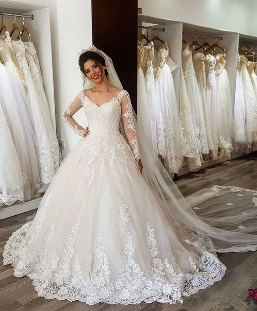 Cheap Vestido de Noiva Custom Made Long Sleeves Ball Gown Wedding Dress 2019 Lace Up Back Robe de mariee Vestido De Casamento