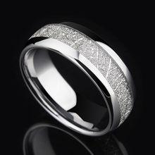 Anillo de carburo de tungsteno Vintage de 8mm de ancho con tonos plateados para hombre, banda de compromiso de boda con diseño de meteoritos, talla 7-12