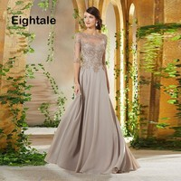 Eightale Mother of the Bride Dresses 2019 Scoop Appliques Beaded A Line Chiffon Half Sleeve Evening Dress for Party Gown