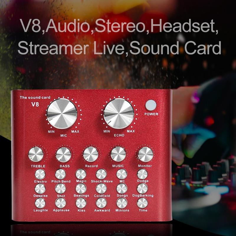 V8 AudioHeadset Microphone Live USB External Sound Card For Mobile Phone Computer audio interface Sound Card