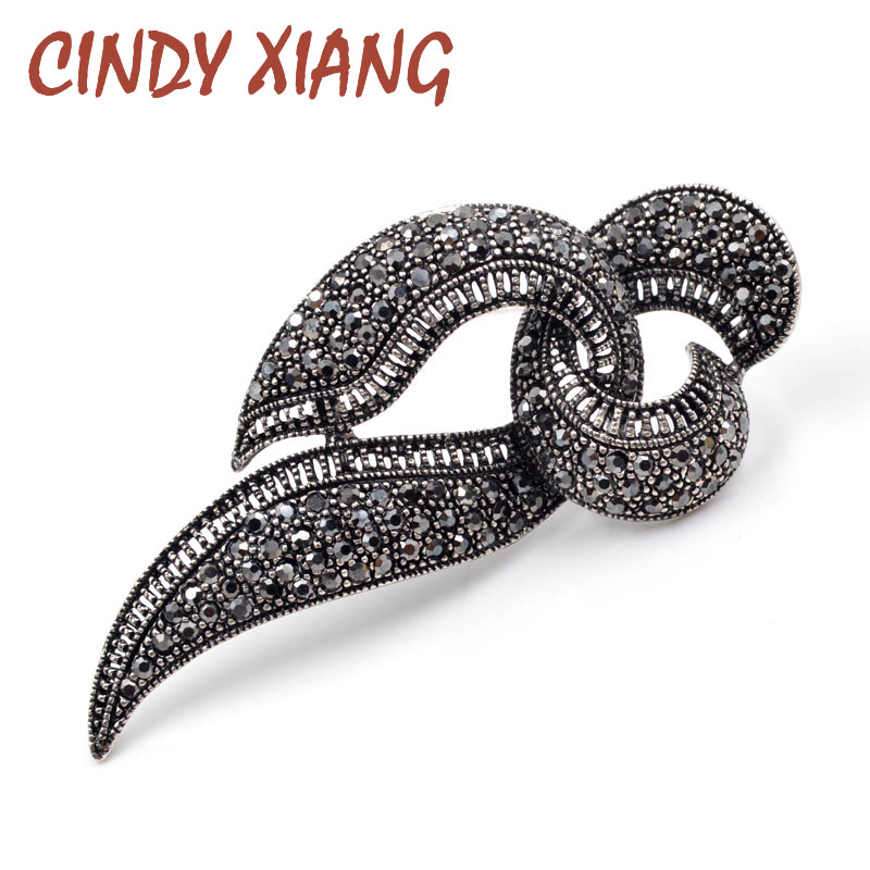 CINDY XIANG New Arrival Black Rhinestone Geometric Brooches for Women Vintage Fashion Jewelry Exquisite Broches Elegant Brooch
