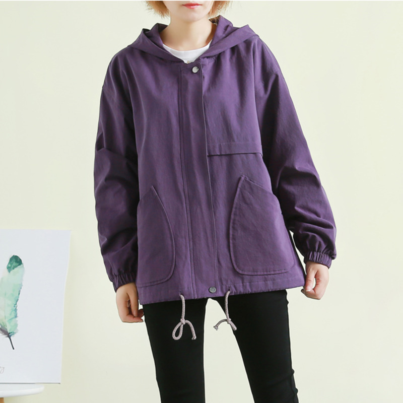 Autumn Yellow green coffee Black Hooded   basic     Jacket   Student boyfriend style Overcoat Korean Women Spring purple coat DH031
