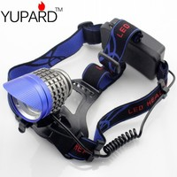 yupard 3* XM L T6 LED super bright Headlamp Brightness LED Headlight bicycle cycling light camping rechargeable 18650 battery