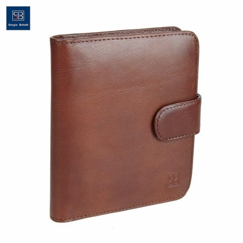 Business Card Holder Sergio Belotti 2612 Milano Brown short genuine leather cowhide men wallet business card coin money male purse card holder