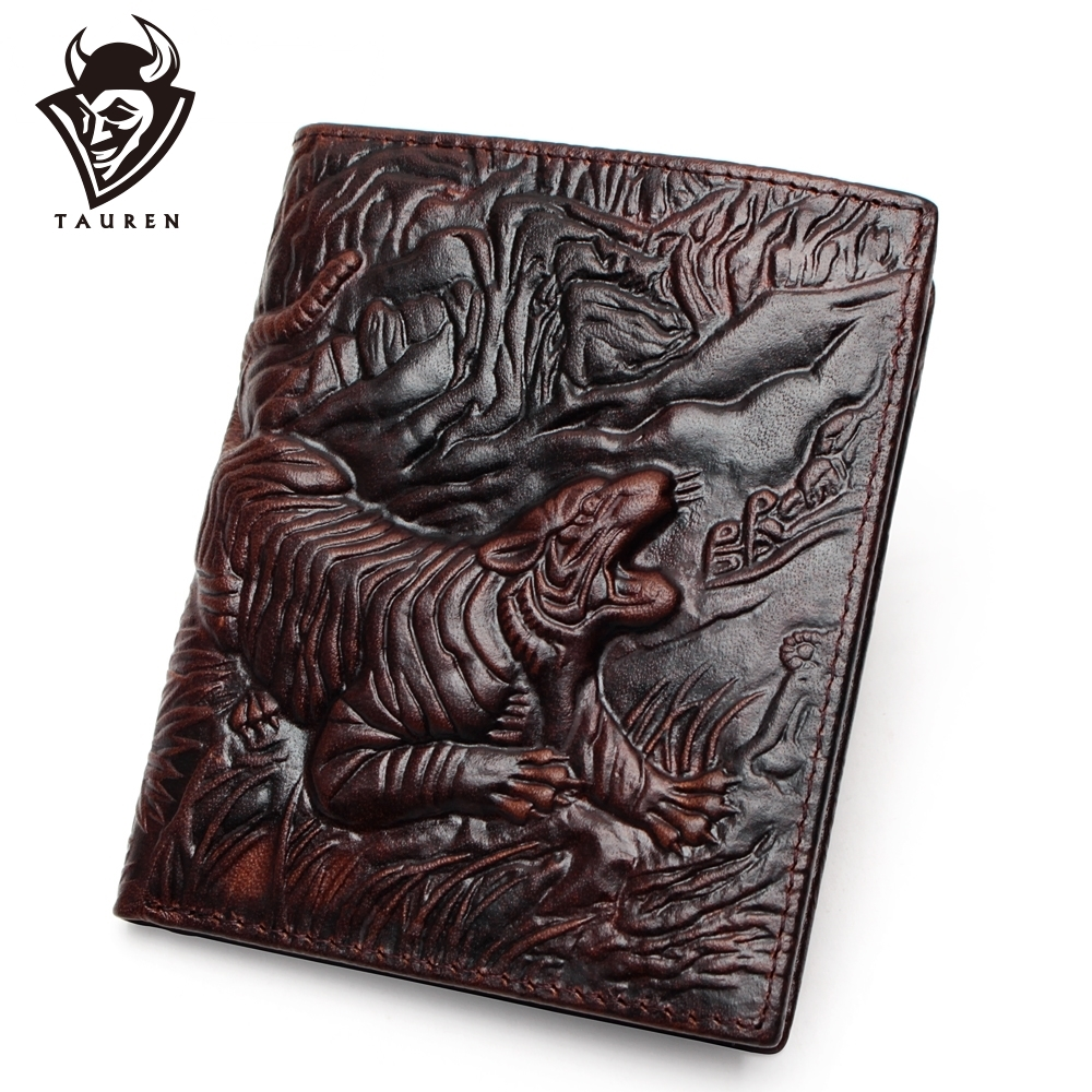 3D Tiger Pattern Purse Genuine Leather Wallet Men Purse Male Real Leather Wallet Male Vintage Cowhide Money Bag Top Quality