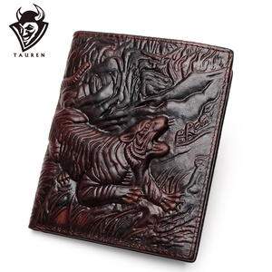 3D Tiger Pattern Purse Genuine Leather Wallet Men Purse Male Real Leather Wallet Male Vintage Cowhide Money Bag Top Quality(China)