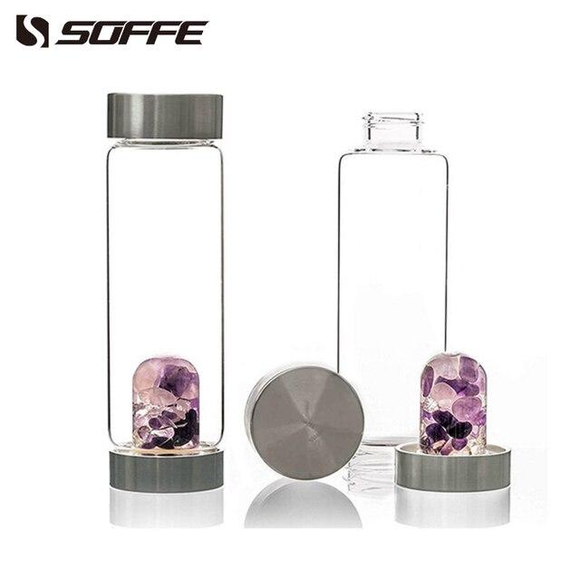 Soffe – bouteille d'eau en cristal naturel, 600ml, avec couvercle, sans Bpa, avec pierres précieuses 1