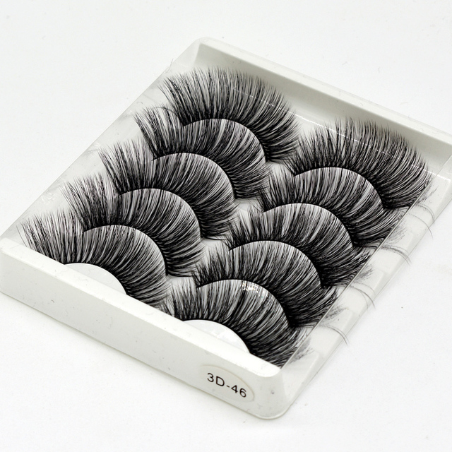 SEXYSHEEP 5Pairs 3D Mink Hair False Eyelashes Natural/Thick Long Eye Lashes Wispy Makeup Beauty Extension Tools 3