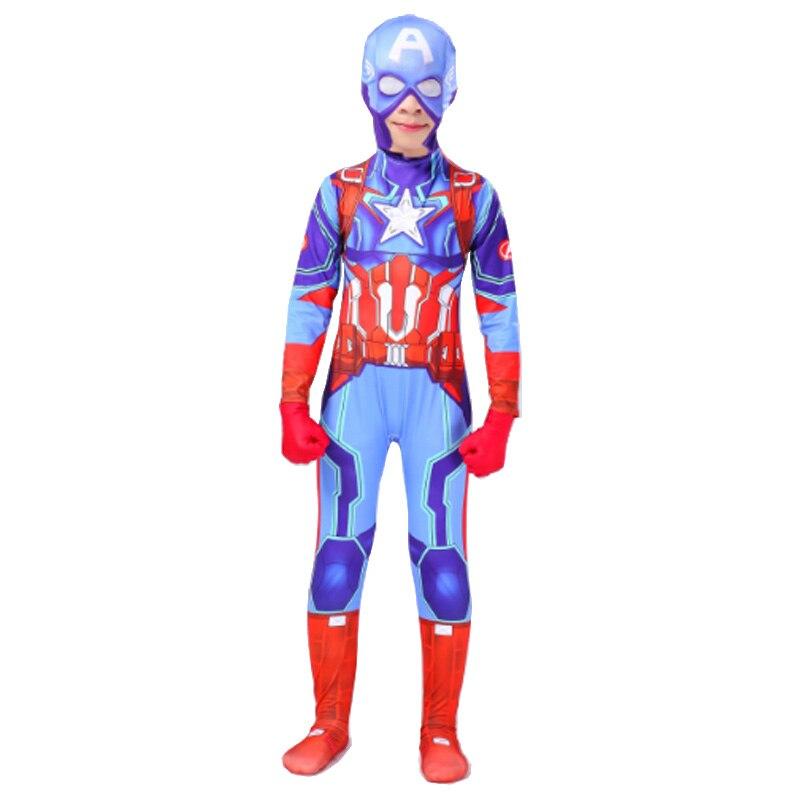 Boys Captain America Cosplay Costume Child Kids Bodysuit Jumpsuit Halloween