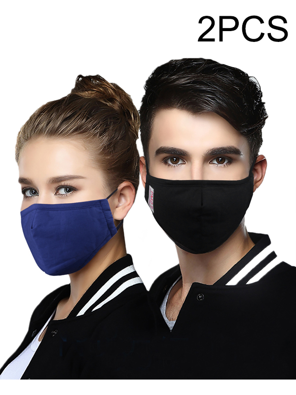 2pcs Cotton PM2.5 Anti Haze Mask Breath Valve Anti-Dust Mouth Mask Activated Carbon Filter Respirator Mouth-Muffle Mask Face
