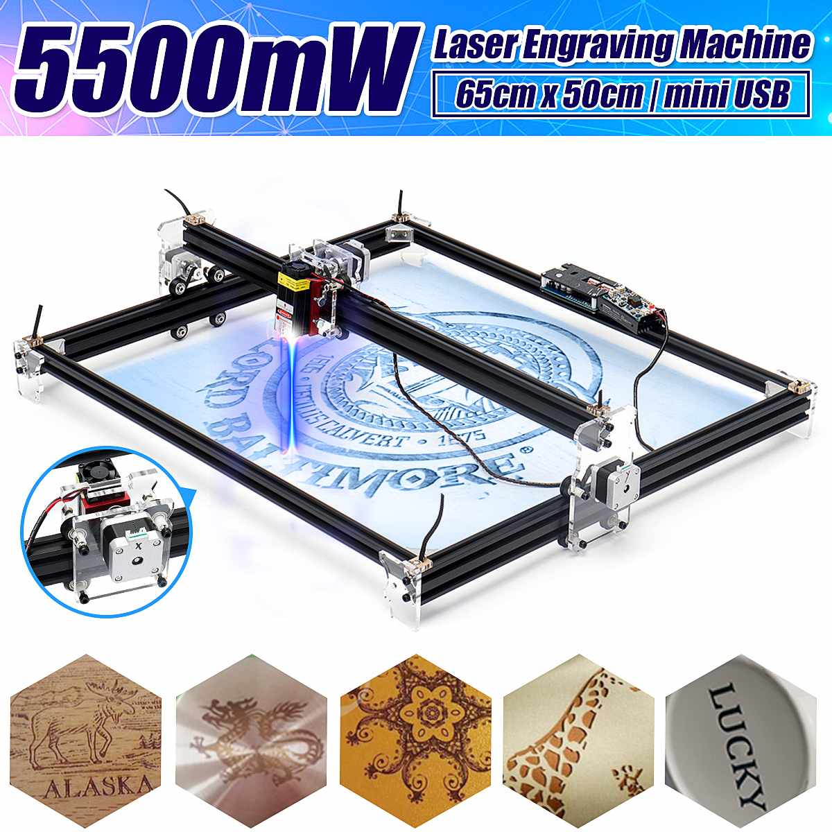 12V Mini 5500mW 65*55cm Blue CNC Laser Engraving Machine 2Axis DIY Home Engraver Desktop Wood Router/Cutter/Printer Machine Tool(China)