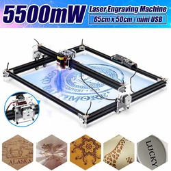12V Mini 5500mW 65*55cm Blue CNC Laser Engraving Machine 2Axis DIY Home Engraver Desktop Wood Router/Cutter/Printer Machine Tool