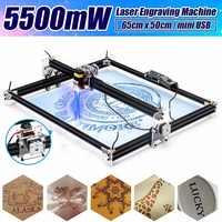 12V Mini 5500mW 65*55cm bleu CNC Machine de gravure Laser 2 axes bricolage maison graveur bureau bois routeur/Cutter/imprimante Machine-outil