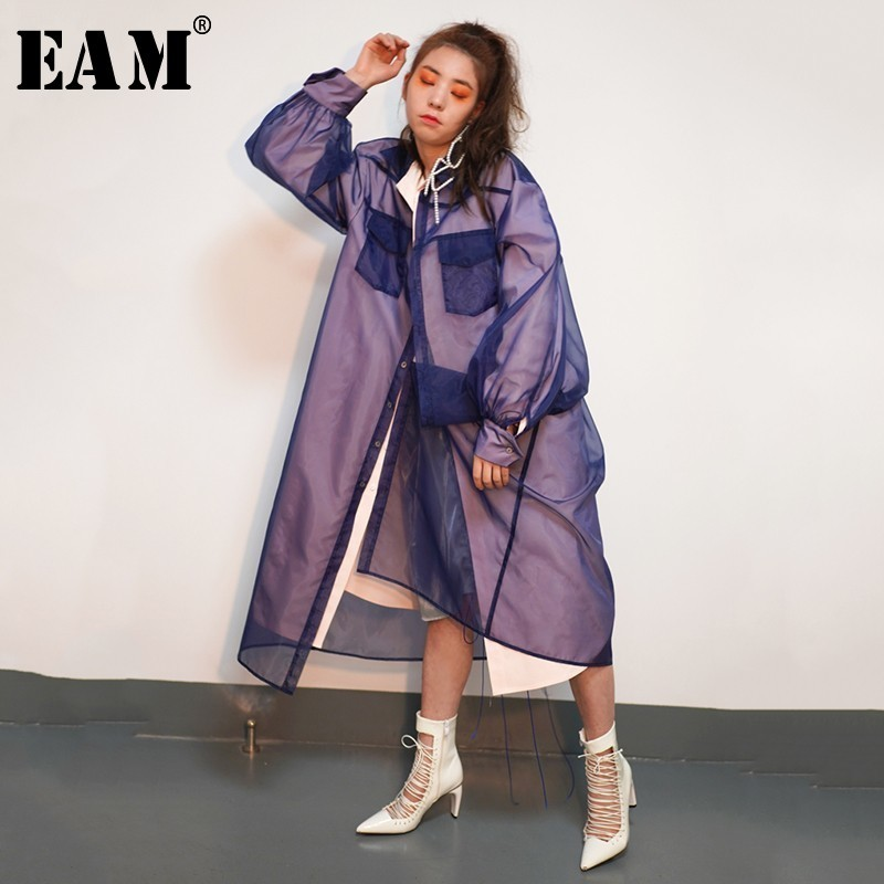 [EAM] 2019 New Spring Winter Lapel Long Sleeve Lapel Organze Split Joint False Two Windbreaker Women   Trench   Fashion Tide JO346