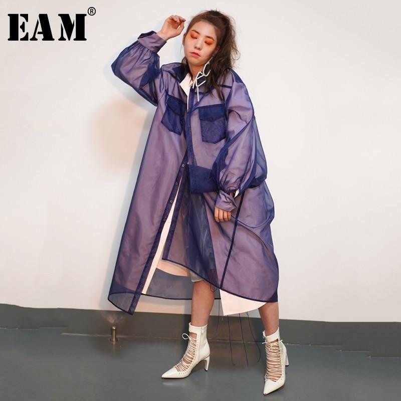 [EAM] 2019 New Autumn Winter Lapel Long Sleeve Organze Split Joint False Two Windbreaker Women Trench Fashion Tide JO346
