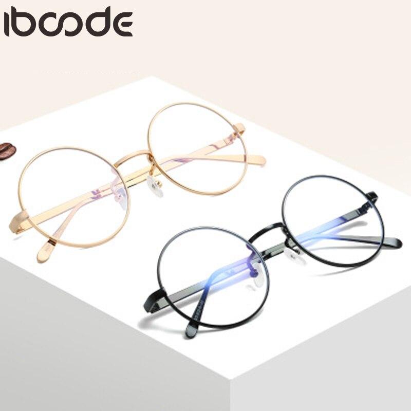 Iboode Unisex Retro Designer Metal Zero Diopter Eyewear Upscale Round Glasses Frame Optical Plain Myopia Frame Mirror Eyeglasses