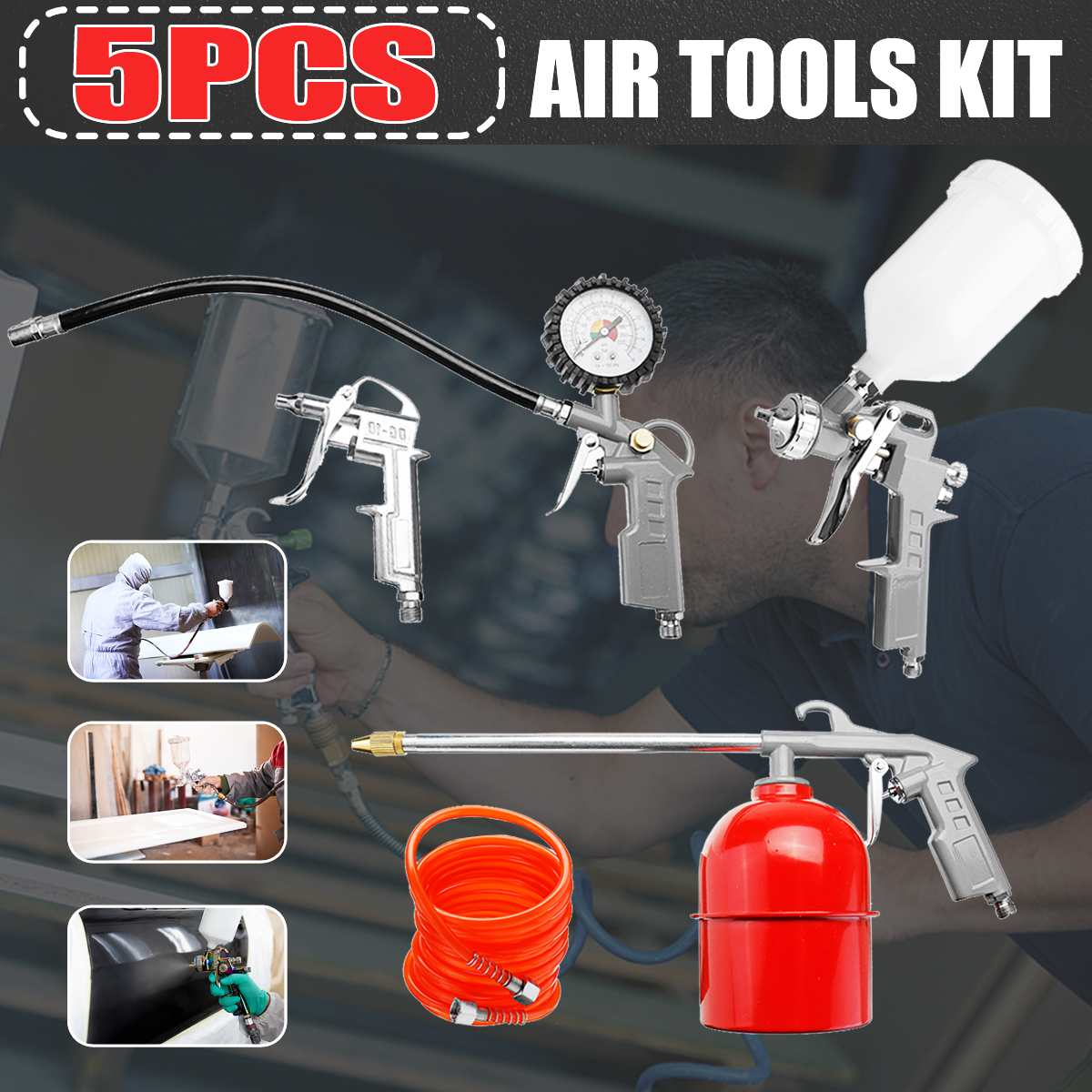 5 Pack Pneumatic Spray Painter Cleaning G un Kit Duct Pneumatic Tool Set