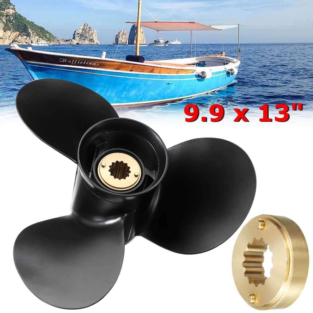 48-19640A40 Aluminum Alloy 9.9 X 13 Mariner Boat Outboard Propeller For Mercury Engine 25-30HP Black 13 Spline Tooth 3 Blades