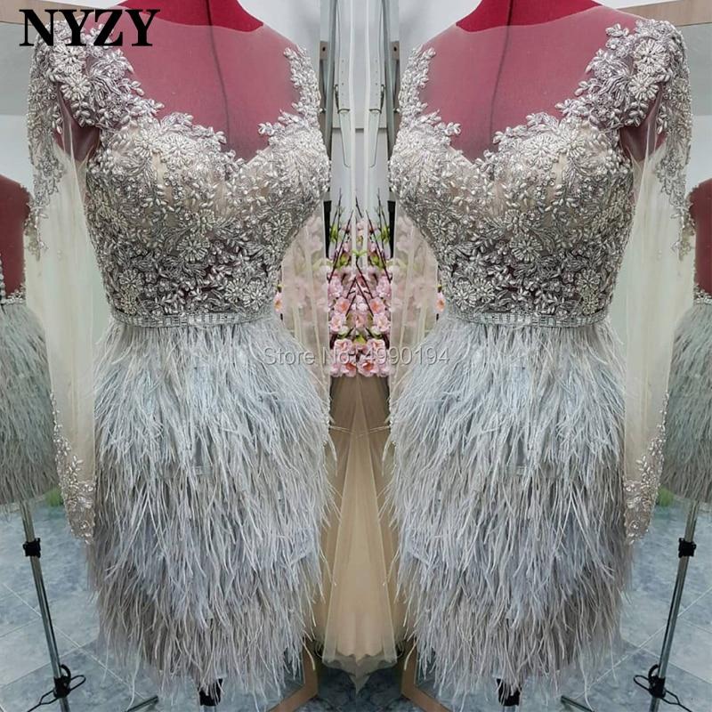 NYZY C107 Feather   Dress   Elegant Short   Prom     Dress   2019 Illusion Long Sleeve Beaded Silver Lace Party Robe vestidos de coctel