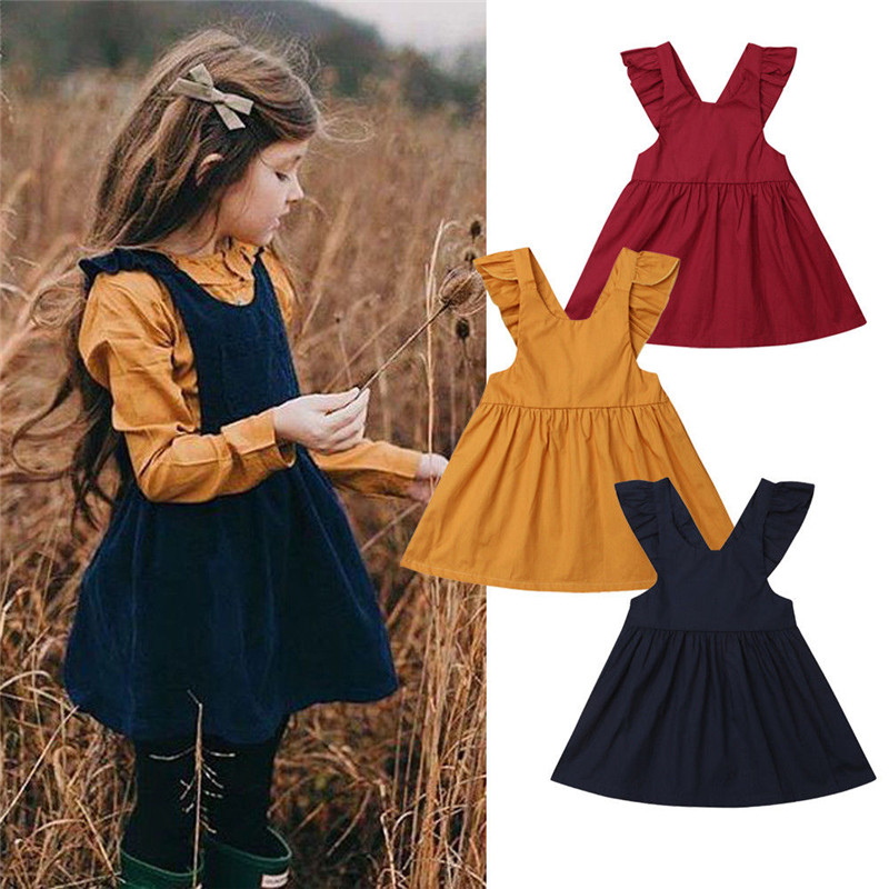 Casual Kids Baby Girls Solid Dress Ruffle Flying Sleeve Backless O-Neck Party Pageant Dress Girls Xmas Tutu Cotton Dress 6M-5Y