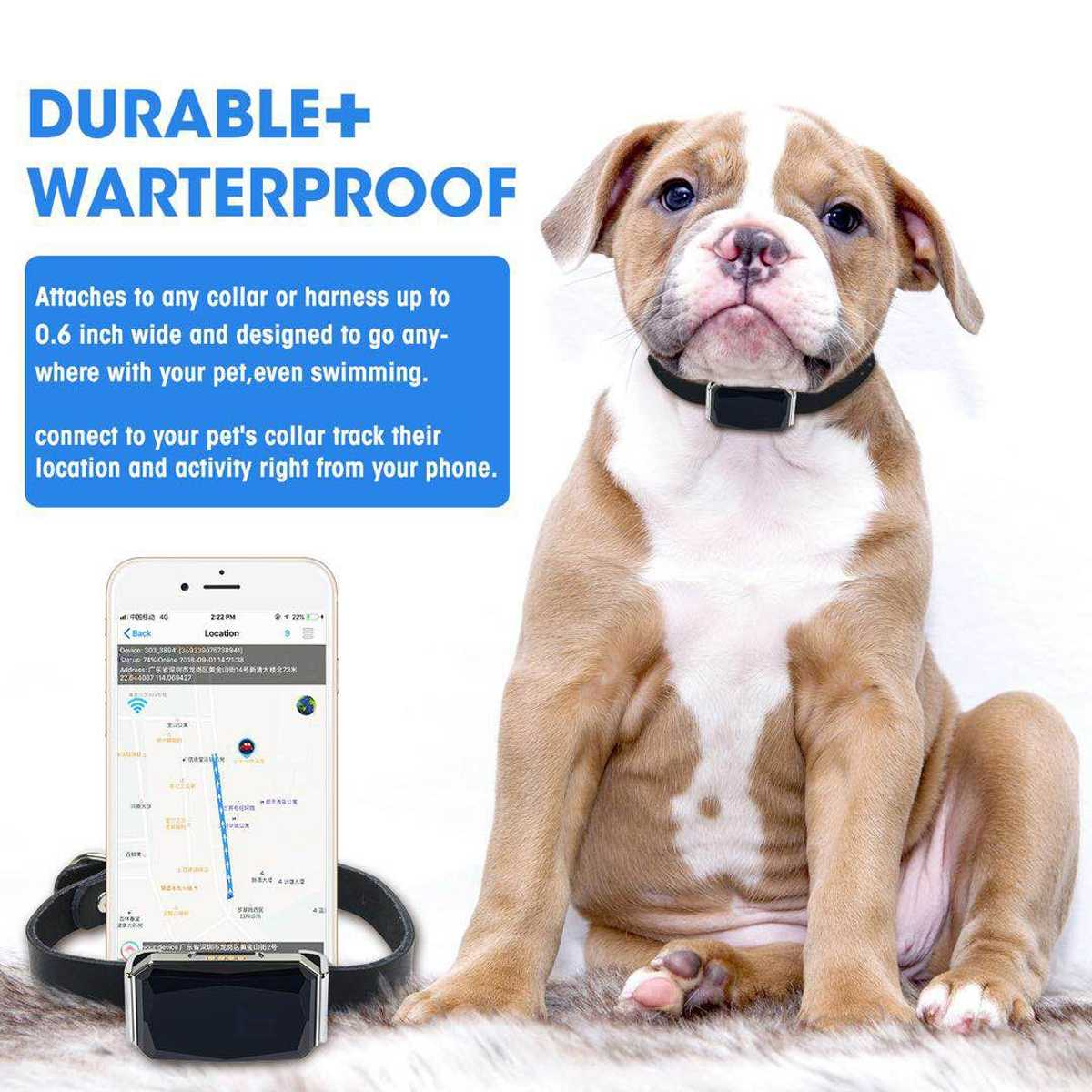New Arrival IP67 Waterproof Pet Collar GSM AGPS Wifi LBS Mini Light GPS Tracker For Pets Dogs Cats Cattle Sheep Tracking Locator(China)