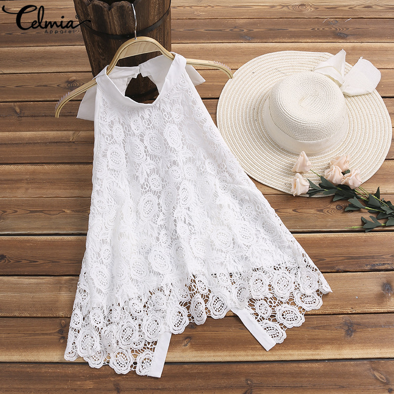 Celmia Women Sexy   Tank   Cami   Tops   2019 Summer Vest Sleeveless Backless Halter Shirt White Lace Blouse Casual   Tank     Top   Plus Size