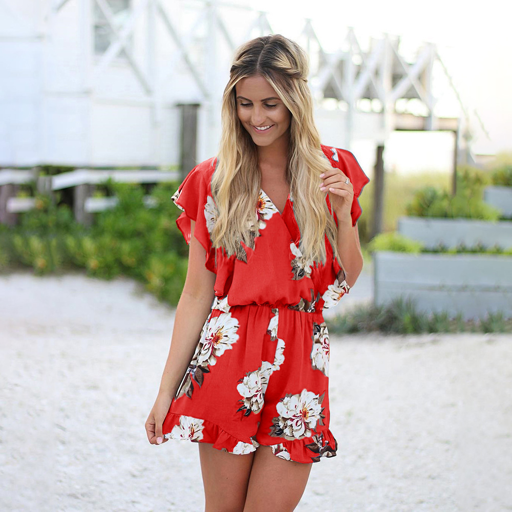 Pickyourlook Bohemian Vintage Women Romper Jumpsuit Playsuit Short Sleeve Floral Print Casual Holiday Summer Ruffle Lady Rompers