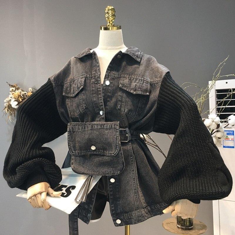 À Sac Velours Femmes Manches Couture Jean Jeans Longues Collier Veste Automne En thin Patchwork Chaud De Turn Ceinture Manteau Thick Black down Tricot Noir Black ZrEU6qwZ