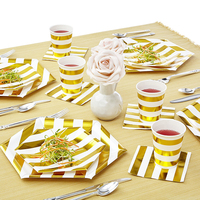 49Pcs Foil Gold White Grid Paper tableware Straws plates cups Disposable Tableware Sets Birthday Party Wedding Decoration