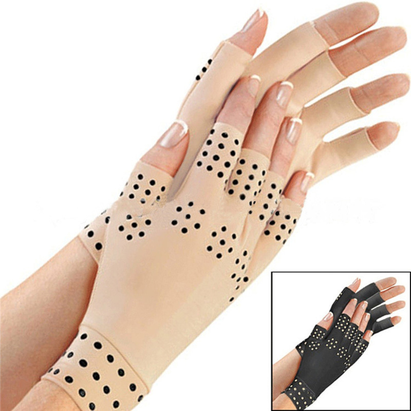 1 Pair Magnetic Therapy Gloves Hand Massage Gloves Arthritis Pain Relief Heal Joints Braces Supports Half-finger Gloves