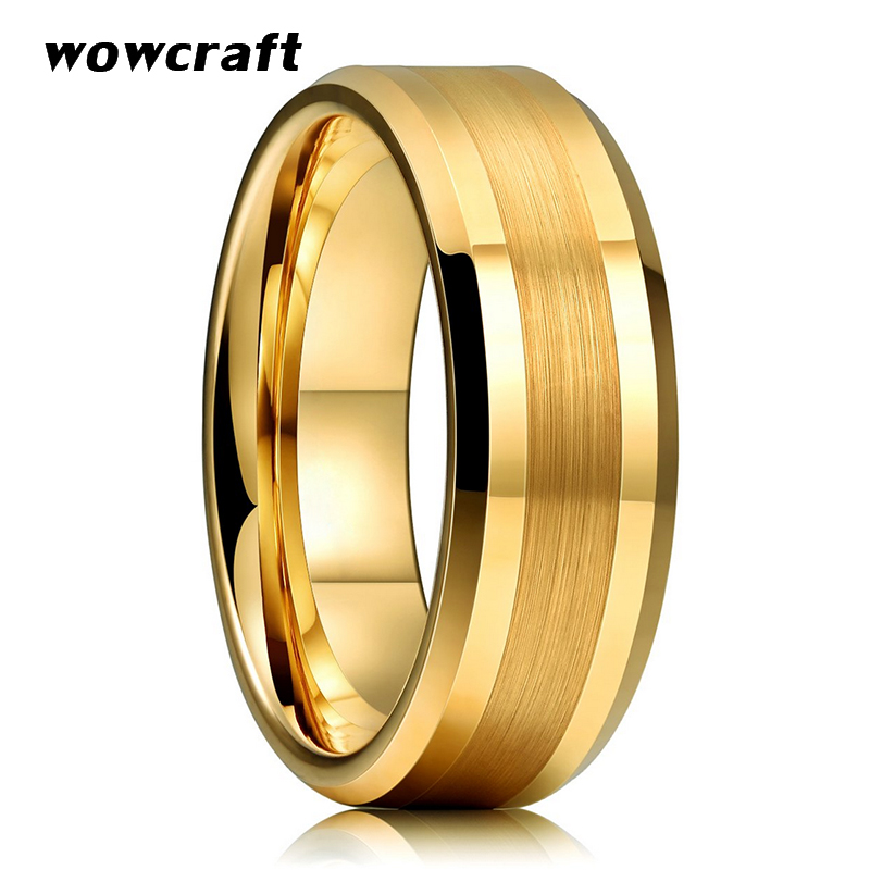 6mm 8mm Frauen Der Männer Gold Wolfram Hartmetall Hochzeit Band Ringe Abgeschrägte Kanten Poliert Matte Finish Komfort Fit Persönliche Anpassen