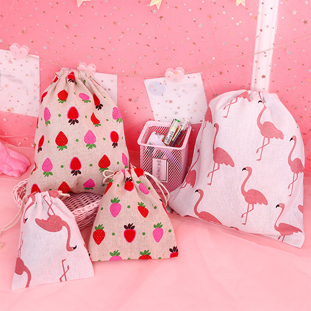 Cotton Strawberry Drawstring Bag Women Travel Makeup Case Cosmetics Shoes Cloth Storage Case Organizer Bags Christmas Gift