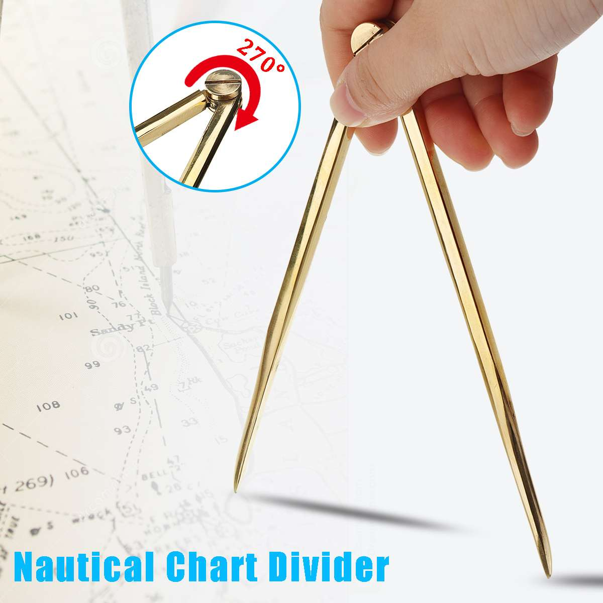 Solid Brass 168mm Nautical Chart Straight Divider Marine Dividing Tool-Compass Portable No Rust For Architects Marine Navigation