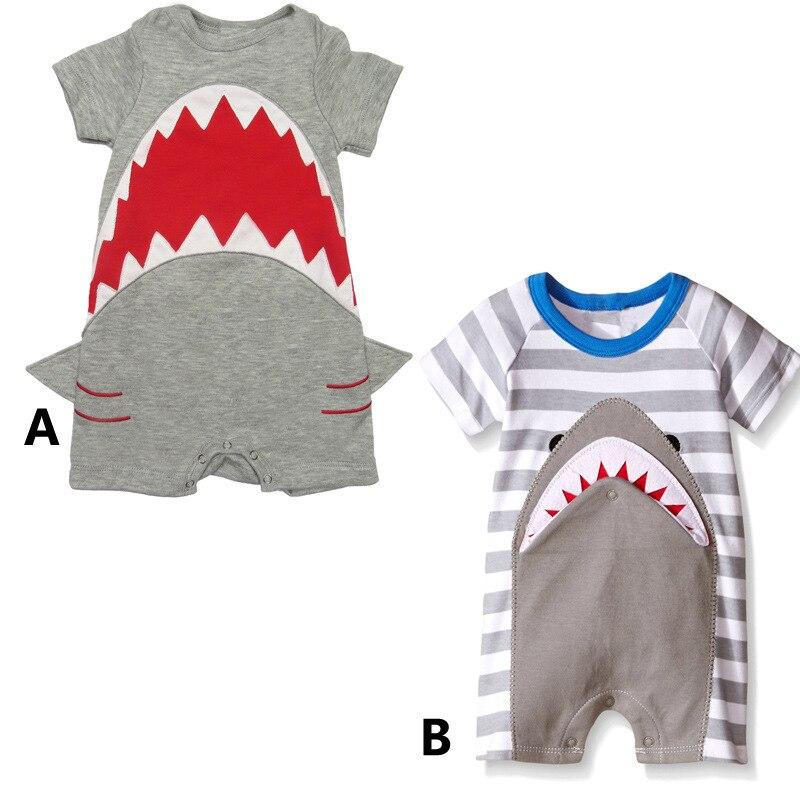 Европейский 2016 летняя одежда детская Акула Catamite короткий рукав одежда из Казахстана даже одежда 0 декабрь полный хлопок