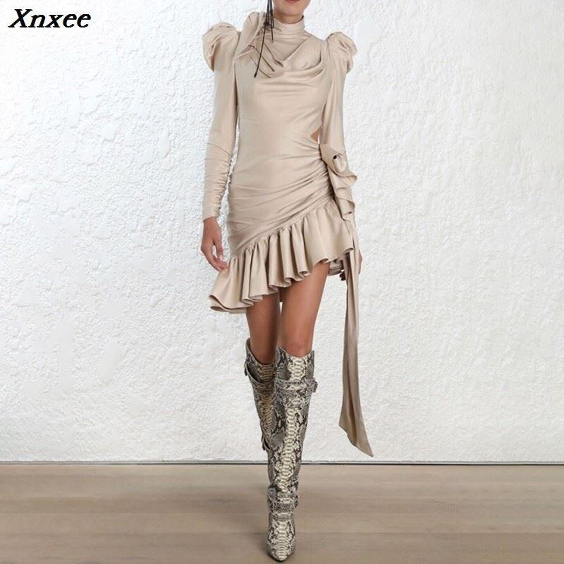 Xnxee Hollow Out Asymmetrical Satin Dresses For Women Bowknot Puff Sleeve Ruffle Evening Party Dress Female 2019 Autumn