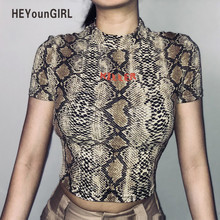 Sexy Print Snake Bodycon Women T-shirt Summer Short Sleeve Crop Top Printed Letter Fashion Casual Female Tops Tees Shirts