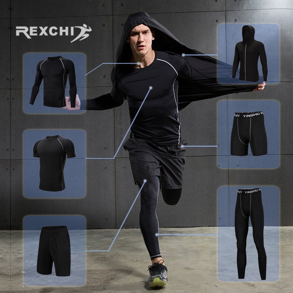 REXCHI 6 Pcs Set Men s Tracksuit Compression Sports Suit Gym Fitness Clothes Running Jogging Sport